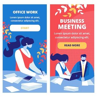 Zakelijke bijeenkomst en kantoor werknemer banners set