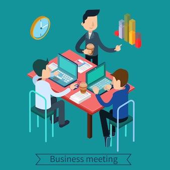 Zakelijke bijeenkomst en teamworking isometrische concept. beambten met laptops en documenten