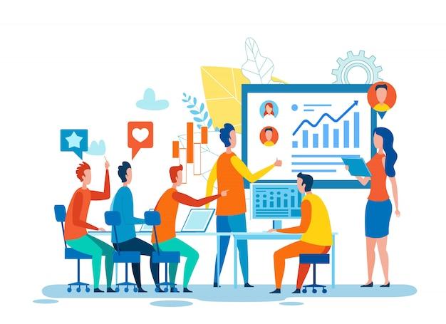 Zakelijke bijeenkomst gewijd aan social media marketing