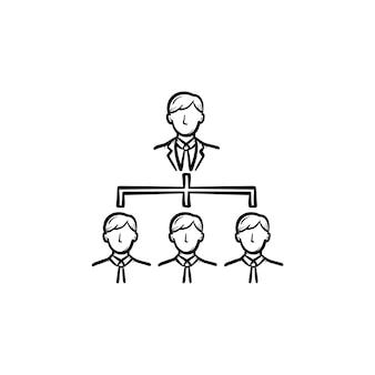Zakelijke bijeenkomst hand getrokken schets doodle vector pictogram. teamleden op zakelijke bijeenkomst schets illustratie voor print, web, mobiel en infographics geïsoleerd op een witte achtergrond.