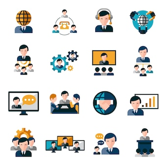 Zakelijke bijeenkomst iconen
