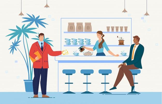 Zakelijke bijeenkomst in cafe platte concept