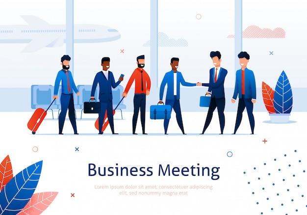 Zakelijke bijeenkomst in luchthaven terminal en cartoon zakenman in pak schudden h en