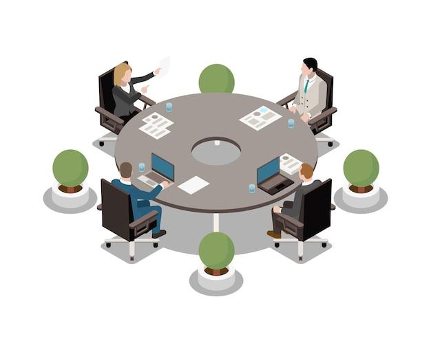 Zakelijke bijeenkomst isometrisch pictogram met mensen zitten aan ronde tafel 3d