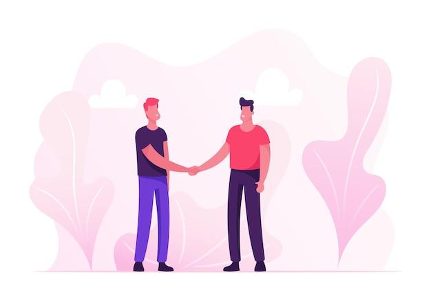 Zakelijke bijeenkomst. jongeren staan van aangezicht tot aangezicht handen schudden. cartoon vlakke afbeelding