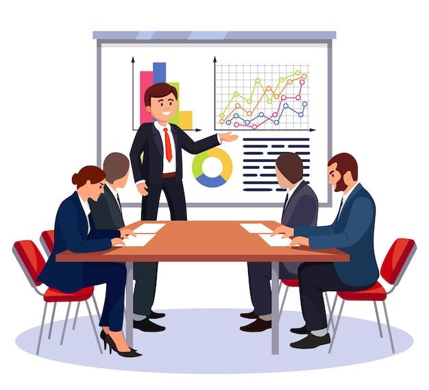 Zakelijke bijeenkomst. man spreekt, presenteert project. mensen in de conferentiezaal op workshop, training, seminar