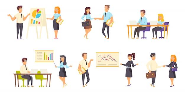 Zakelijke bijeenkomst mensen platte tekenset