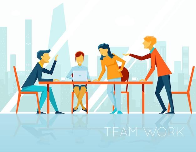 Zakelijke bijeenkomst. mensen praten en werken op kantoor. koffiepauze, zakenvrouw en zakenman, vectorillustratie