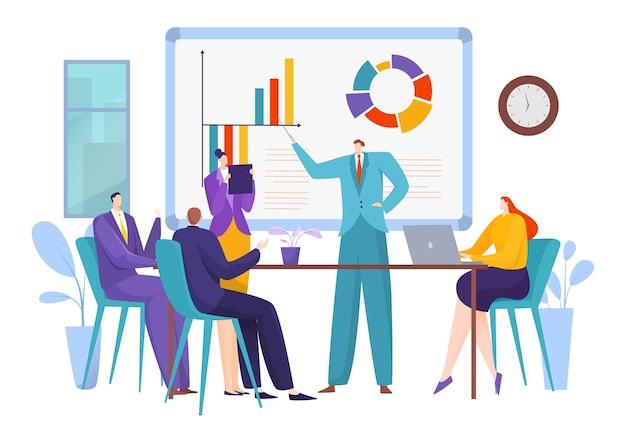Zakelijke bijeenkomst, mensen teamwerk in kantoor illustratie