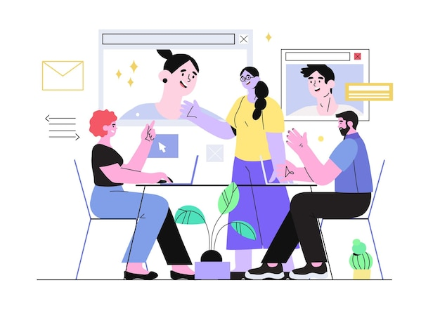 Zakelijke bijeenkomst met videoconferentiegesprek.