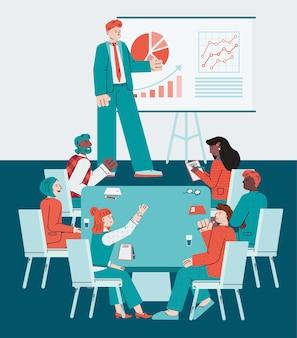 Zakelijke bijeenkomst of ontmoeting met coach spreekt met werknemers van het bedrijf.