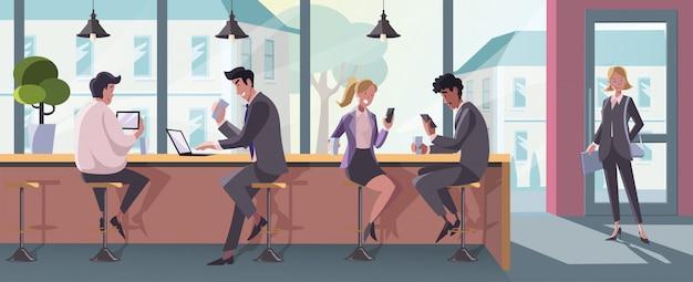 Zakelijke bijeenkomst, pauze, naaiatelier, moderne communicatie set concept