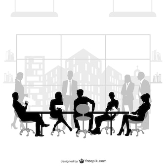 Zakelijke bijeenkomst vector silhouetten