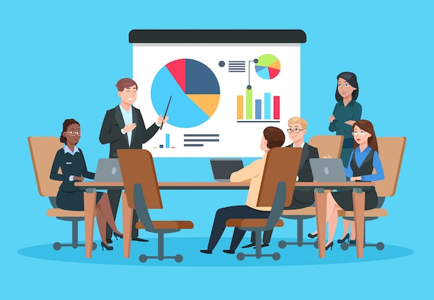 Zakelijke bijeenkomst. vlakke mensen op presentatie conferentie illustratie. zakenman bij infographic projectstrategie. team seminar vector concept