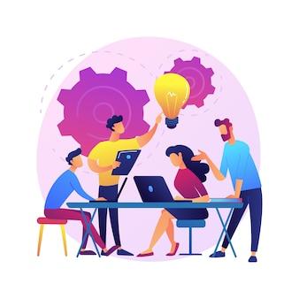 Zakelijke bijeenkomst. werknemers stripfiguren bespreken bedrijfsstrategie en plannen van verdere acties. brainstormen, formele communicatie, seminarie.