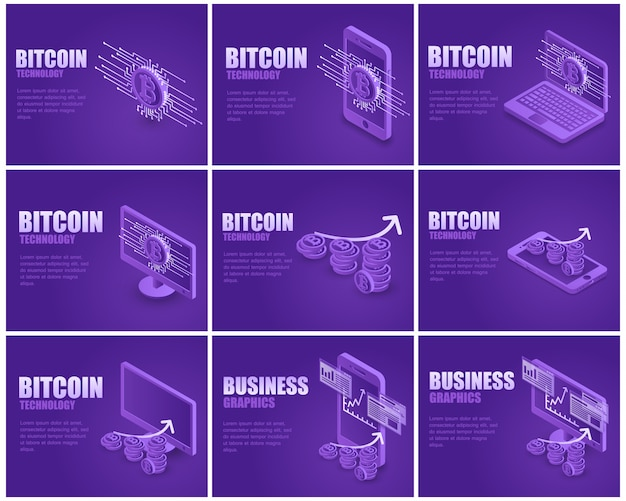 Zakelijke bitcoin bestemmingspagina set