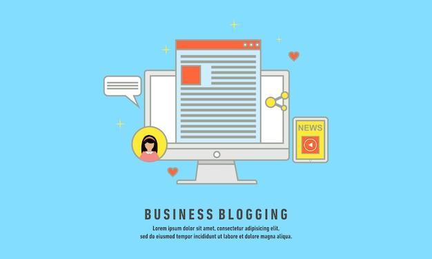 Zakelijke bloggen, commerciële blog posten, internet blogging service platte ontwerp vectorillustratie