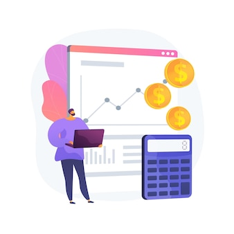 Zakelijke boekhouding, winstgroei, berekening. gegevensanalyse, analyse en statistieken. accountant, boekhouder met laptop stripfiguur. vector geïsoleerde concept metafoor illustratie.