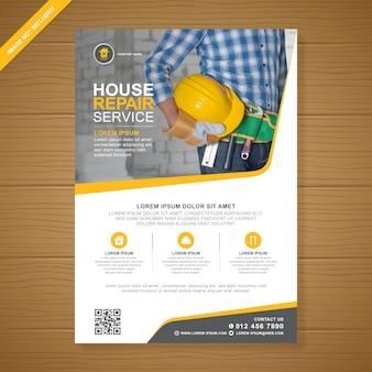 Zakelijke bouwgereedschap omvat a4 flyer-sjabloon