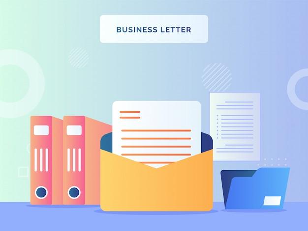 Zakelijke brief concept tekstpapier in geopende envelop achtergrond van bestandsmap bestandshouder met vlakke stijl