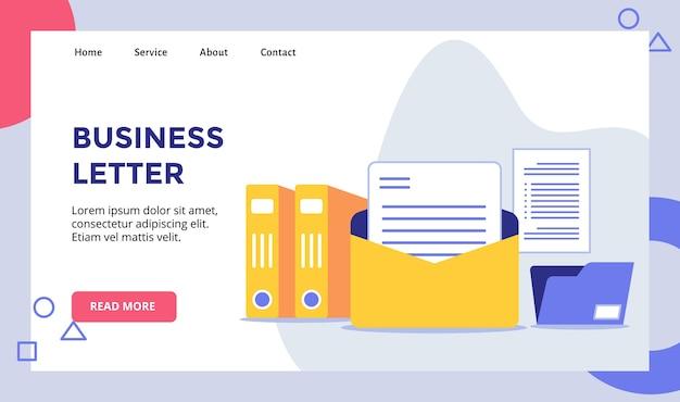 Zakelijke brief mail achtergrond van bestandsmap houder campagne voor web website startpagina bestemmingspagina sjabloon banner met moderne vlakke stijl