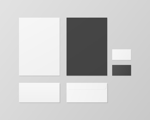 Zakelijke briefpapier. huisstijl sjabloon set. papier, visitekaartje, envelop. realistische afbeelding. geïsoleerd. sjabloonontwerp.
