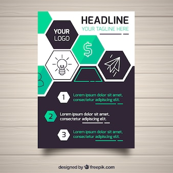 Zakelijke brochure in a5-formaat met vlakke stijl