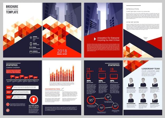 Zakelijke brochure, jaarverslag bedrijfsdocumenten tijdschrift of catalogus voorbladen