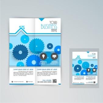 Zakelijke brochure met blauwe versnellingen