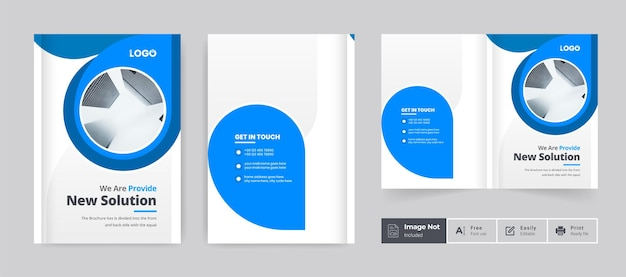 Zakelijke brochure ontwerp voorbladsjabloon zakelijke tweevoudige brochure minima presentatie thema lay-out