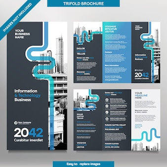 Zakelijke brochure sjabloon in tri-fold lay-out. corporate design leaflet met vervangbare afbeelding.