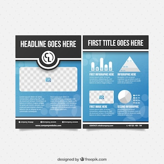 Zakelijke brochure sjabloon met grafieken en ruimte voor foto's