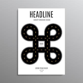 Zakelijke brochure, sjabloon of lay-out ontwerp flyer in a4-formaat met weg op achtergrond.