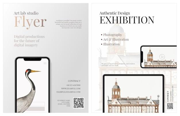 Zakelijke brochure sjabloon vector in elegant ontwerp voor een kunstbedrijf met digitaal apparaat