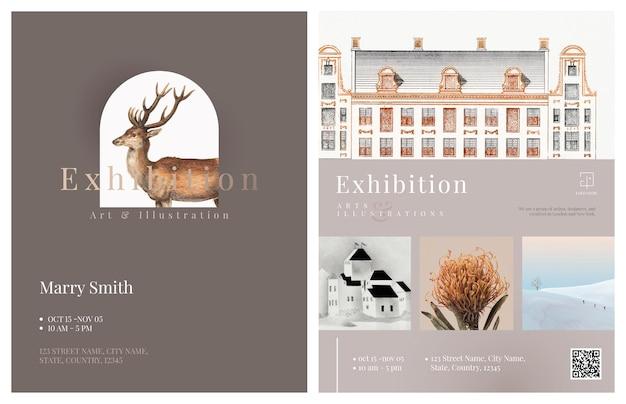 Zakelijke brochure sjabloon vector in elegant ontwerp voor een kunstbedrijf