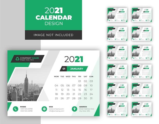 Zakelijke bureau kalender ontwerpsjabloon voor jaar