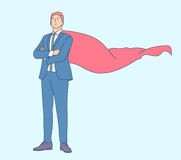 Zakelijke carrière groei en leiderschap concept. succesvolle bedrijfsmens of mannelijke beambte in kostuum en rode kaap.