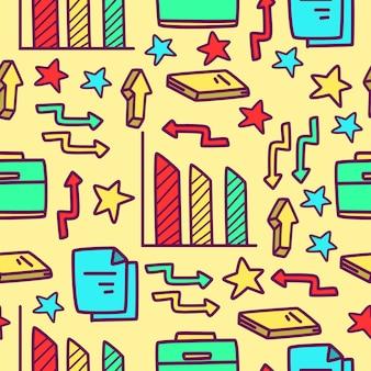 Zakelijke cartoon doodle patroon ontwerp illustratie