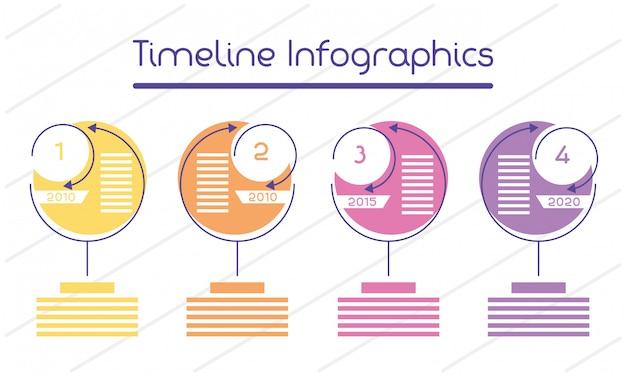 Zakelijke circulaire tijdlijn infographics met getallen