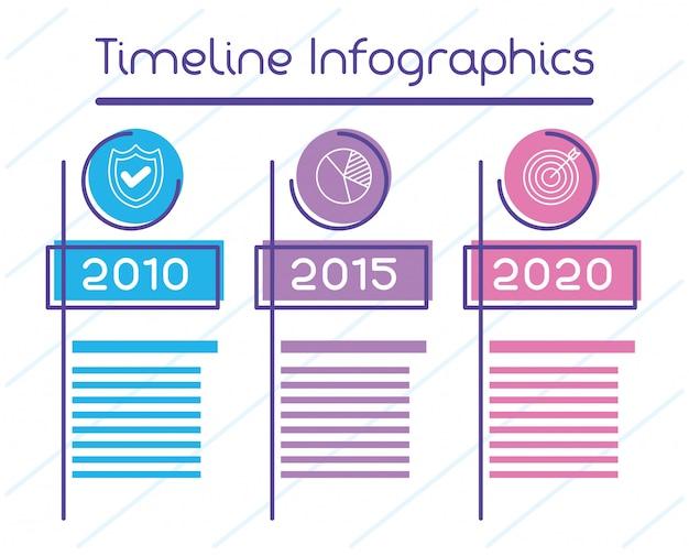 Zakelijke circulaire tijdlijn infographics met jaren