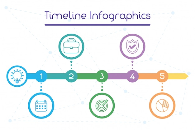 Zakelijke circulaire tijdlijn infographics