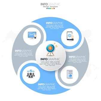 Zakelijke cirkel infographic elementen met 4 opties of stappen.