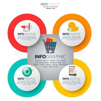 Zakelijke cirkel infographic elementen met 5 opties of stappen.