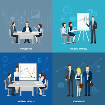 Zakelijke coaching 4 plat pictogrammen vierkant