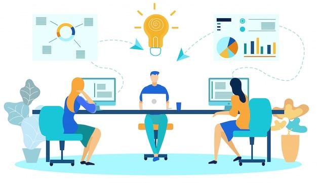 Zakelijke collega's op kantoor, ideeën genereren.