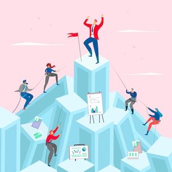 Zakelijke concurrentie concept illustratie. zakenman op de top van de berg. competitieve zakenlieden klimmen omhoog.