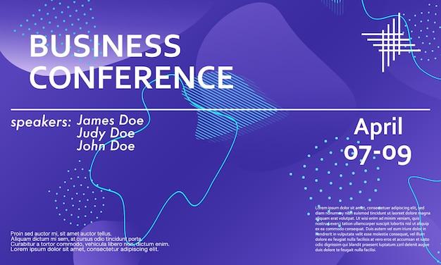 Zakelijke conferentie ontwerpsjabloon. 3d-achtergrond. kleurrijke elementen. aankondiging conferentie. abstract omslagontwerp.
