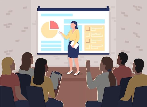 Zakelijke conferentie plat. marketing opleiding. coach in de buurt van projectiescherm. Premium Vector