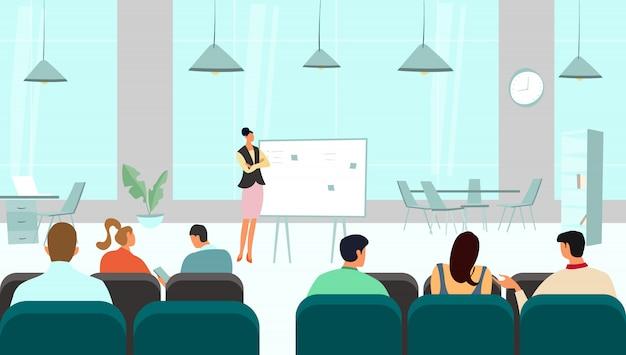 Zakelijke conferentie presentatie, mensen bij lezing seminar, teamvergadering manager, illustratie
