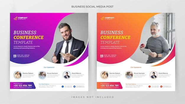 Zakelijke conferentie social media post en flyer sjabloon of webbanner premium vector
